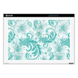 White And Turquoise Retro Flowers & Swirls Pattern Decals For Laptops