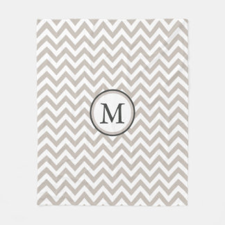 White And Warm Grey Chevron Pattern Monogram Fleece Blanket