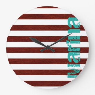 white and wooden nautical stripes with grunge text large clock
