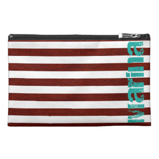 white and wooden stripes personalized by name travel accessory bag