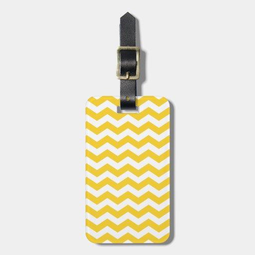 White and Yellow Chevron Stripes Luggage Tag