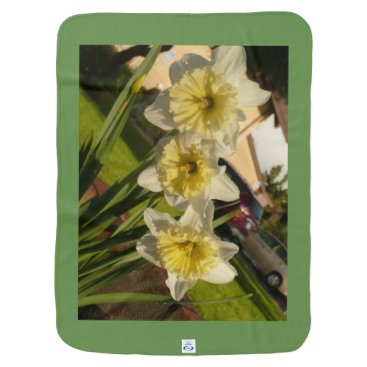 Wedding Themed White and yellow daffodils spring flowers easter baby blanket