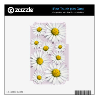 White and yellow daisies floral print decals for iPod touch 4G