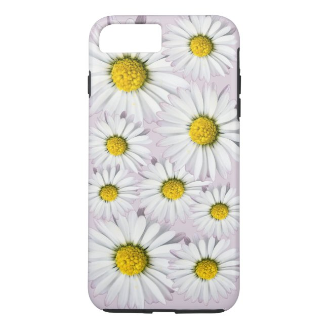 White and yellow daisies floral print