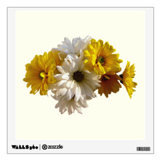 White and Yellow Daisies Wall Skins