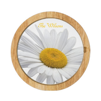 White and Yellow Daisy Cheese Board Round Cheeseboard