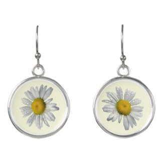 White and Yellow Daisy Flowers Drop Earrings