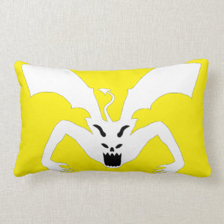 White And Yellow Devil Lumbar Pillow