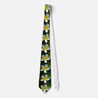 White and Yellow Frangipani blossom Tie