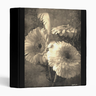 White and Yellow Gerbera and Calla 1 Antiqued 3 Ring Binder
