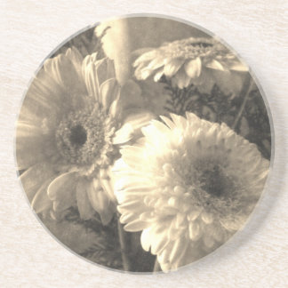 White and Yellow Gerbera and Calla 1 Antiqued Drink Coaster