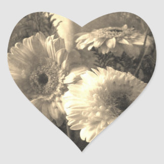 White and Yellow Gerbera and Calla 1 Antiqued Heart Sticker