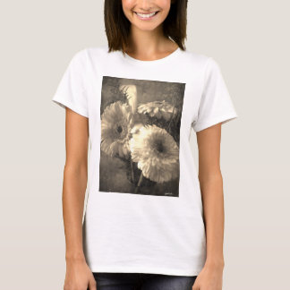 White and Yellow Gerbera and Calla 1 Antiqued T-Shirt