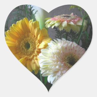 White and Yellow Gerbera and Calla 1 Heart Sticker
