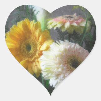 White and Yellow Gerbera and Calla 1 Painterly Heart Sticker