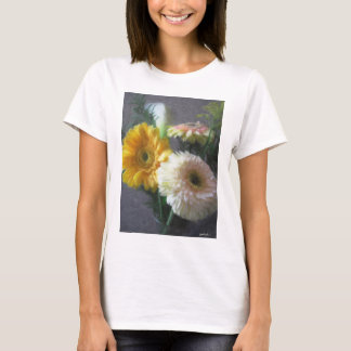White and Yellow Gerbera and Calla 1 Painterly T-Shirt