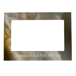 White and Yellow Iris; Customizable Magnetic Frame