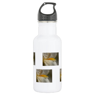 White and Yellow Iris Stainless Steel Water Bottle