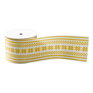 White and Yellow Nordic Christmas Sweater Pattern Grosgrain Ribbon