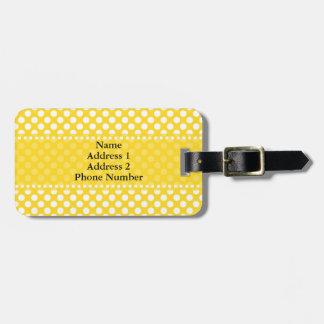 White and Yellow Polka Dot Bag Tag