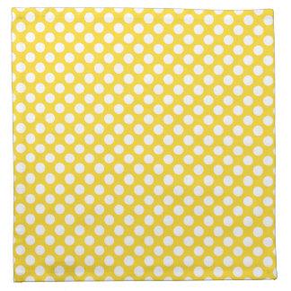 White and Yellow Polka Dot Cloth Napkins