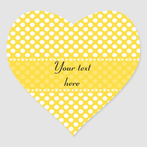 White and Yellow Polka Dot Heart Sticker