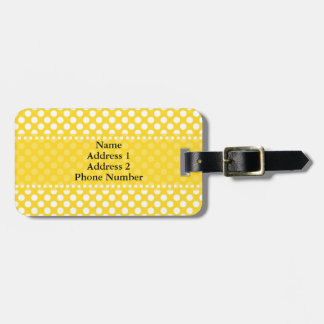 White and Yellow Polka Dot Luggage Tags