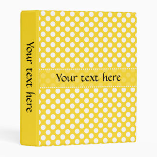White and Yellow Polka Dot Mini Binder