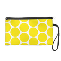 White And Yellow Polka Dots Pattern Purse