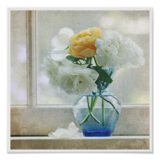 White and yellow roses on the window sill poster