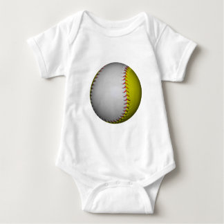 White and Yellow Softball / Baseball Baby Bodysuit