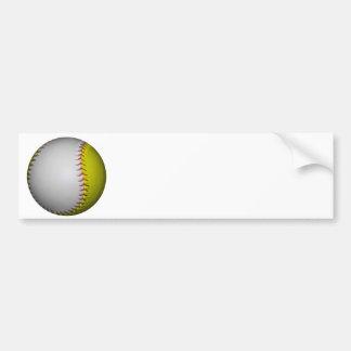 White and Yellow Softball / Baseball Bumper Sticker
