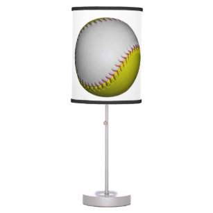 White and Yellow Softball / Baseball Desk Lamp