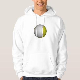 White and Yellow Softball / Baseball Hoodie