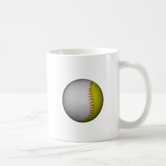 White and Yellow Softball / Baseball Classic White Coffee Mug