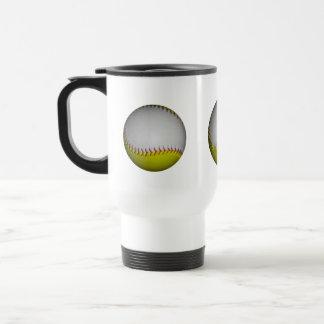 White and Yellow Softball / Baseball 15 Oz Stainless Steel Travel Mug