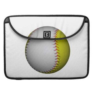 White and Yellow Softball / Baseball Sleeve For MacBooks