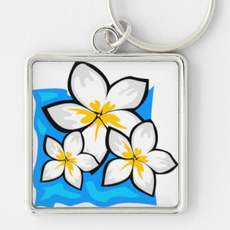 White and yellow tropical flowers keychains