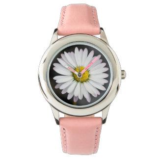 White and yellow wild daisy wrist watch