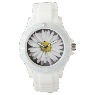 White and yellow wild daisy wristwatch