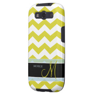 White and Yellow Zig Zag Pattern with monogram Samsung Galaxy S3 Cover