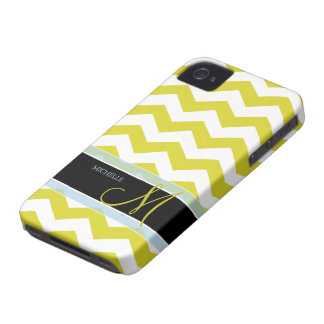 White and Yellow Zig Zag Pattern with monogram iPhone 4 Covers