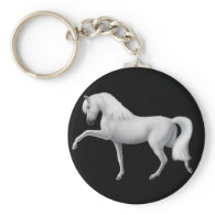 White Andalusian Horse Keychain