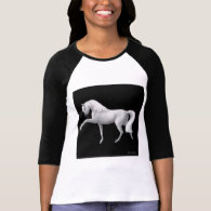 White Andalusian Horse Raglan Tee Shirt