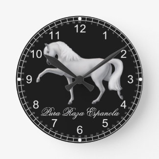 White Andalusian PRE Horse Wall Clock