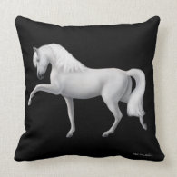 White Andalusian Spanish Horse Pillow
