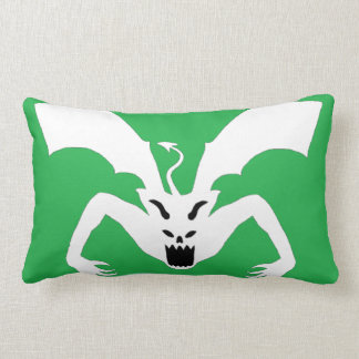 White AndGreen Devil Lumbar Pillow