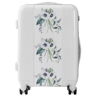 White Anemone Bouquet Eucalyptus Blue Green Luggage