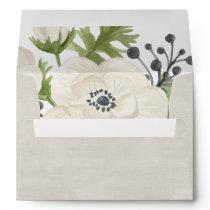 White Anemone Floral Wedding Envelope