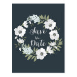 White Anemone Floral Wreath Save the Date Postcard